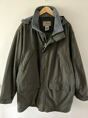LL Bean Jacket Hooded Parka Fleece Lined Thinsulate Coat Men Sz Large Tall