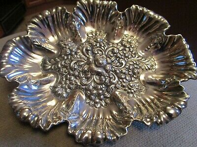 Antique Simpson H. M. & Co. Quadruple Plate Repousse Footed Bowl