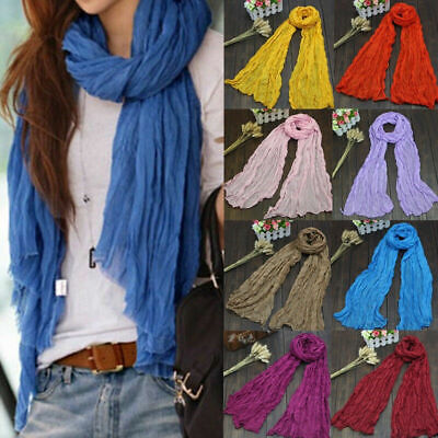 Candy Color Long Voile Scarf Thin Shawl Scarves Women Linen Soft Pleat Stole 1PC