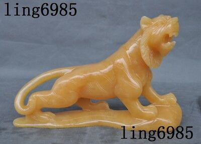 100% Natural Yellow Jade stone hand carved fengshui animal Tiger tigers statue
