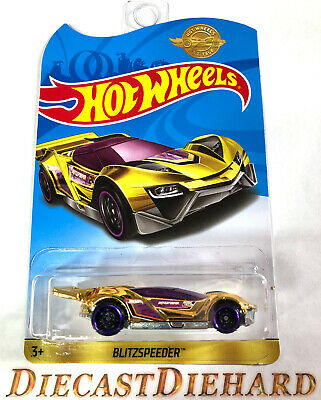 BLITZSPEEDER * Hot Wheels 2019 Limited Edition Gold Chrome Car * Rare VHTF