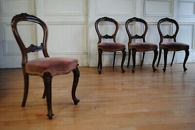 Beautiful Antique Walnut C19th Buckle Back Dining Chairs Carving of Four Seasons