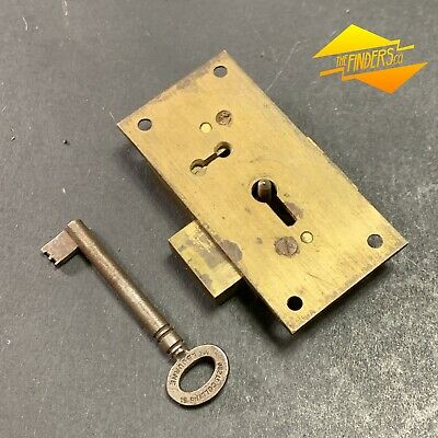 Vintage Secure 4 Lever Great Britain Cupboard Drawer Lock Working With Key #12