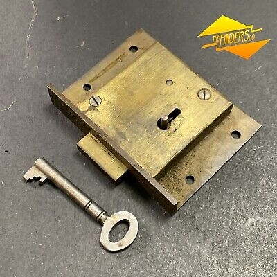 Antique Hobbs & Co London Lever Lock Cupboard Drawer Lock Working With Key #13