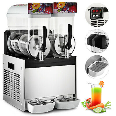 Commercial 2 *15L Frozen Drink Slushy Making Machine Cafe Coffee House