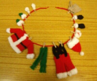 KNITTING PATTERN -  Father Christmas / Santa washing line garland decoration (2)