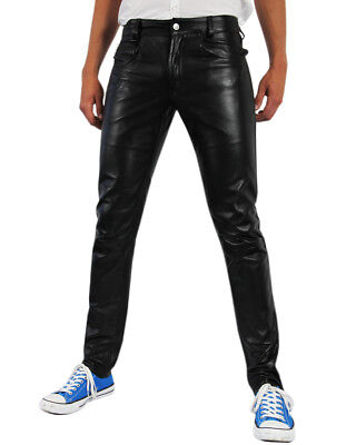 Bockle Tube Lamb Leather Jeans Men's Leather Pants Lamb Leather Jeans New Black