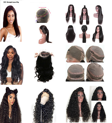 100% Human Hair 360 Lace Frontal-Body Wave / Straight / Curly Wigs * Uk Seller *
