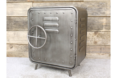 51cm Industrial Safe Style Silver Metal Bedside Table Cabinet