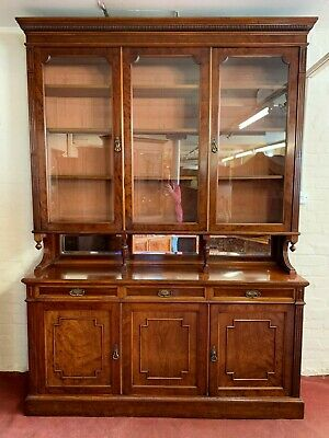 Outstanding Quality Mahogany Victorian Three Door Glazed Library Bookcase