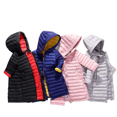 Kids Boys Girls Cotton Padded Hooded Down Puffer Jacket Winter Long quilted Coat