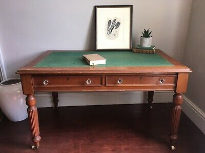 Beautiful Original Antique Victorian Oak Library Writing Table Desk