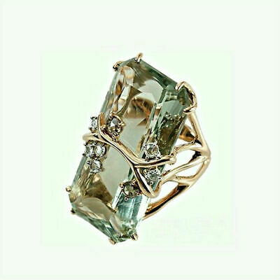 Vintage 925 Sliver Emerald Peridot 18K Gold Plated Sz6-10 Wedding Women Men F1D1