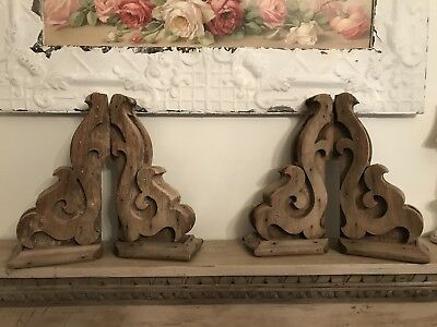 AWESOME Old Wooden Architectural Corbel Brackets! FOUR! Very Nice!