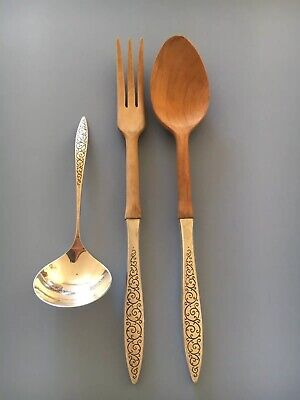 Spanish Lace By Wallace Sterling Silver Salad Servers Wood Set Spoon Fork Ladle
