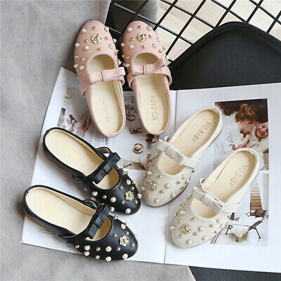 Kids Girls Pearls Slip On Sandals Child Slipper Bowknot Bridesmaid Wedding Shoes