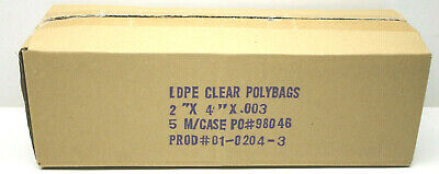 5,000 Heavy Duty Open End LDPE Clear Polybags Bags 3 Mil .003 Crease Heat Seal