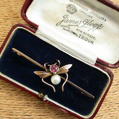 Lovely Antique Art Nouveau Rose Gold Natural Pearl & Ruby Insect Brooch Boxed