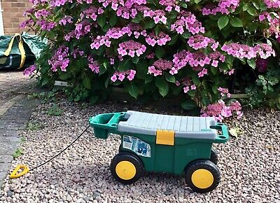 Gardeners Tool Box On Wheels Gardening Stool Plastic Garden Storage Cart Seat