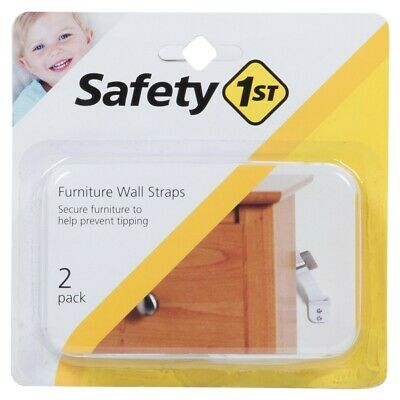 Safety 1st 11014 Furniture Wall Straps, 2PK, White