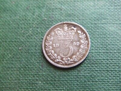 Queen Victoria. 1859  Silver Threepence.   Large 9 Type.  Excellent Condition