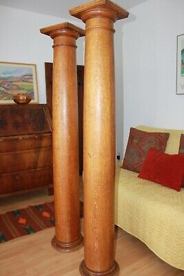 Antique Pair of Solid Oak Columns, decorative or Weight Bearing !