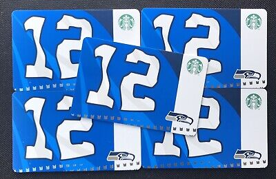 Lot of 10 - New 2019 Starbucks SEATTLE SEAHAWKS 12th Flag Cards - Free shipping!
