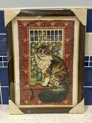 """Completed New Framed Ivory Cats Tapestry 'Agneatha with the Apple""""'"""