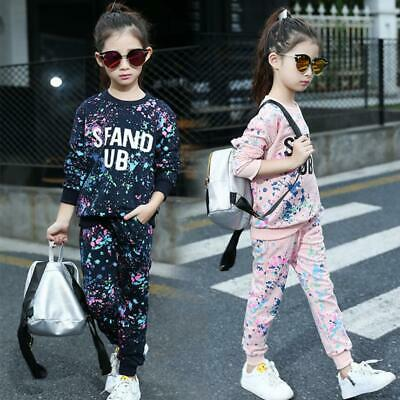 Kids Girls Tracksuit Graffiti Print Sweatshirt Bottom Jogging Suit Sportswear
