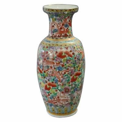 Oversized Chinese Hand Painted Dragon & Floral Porcelain Vase, 20th Century