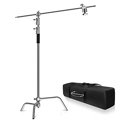 ShowMaven 10ft Century Light Stand C-Stand on Turtle Base with 4ft Extension Arm