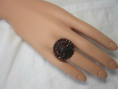 Bohemian Garnet Ring Monumental Antique Art Deco Belle Epoque Superb!