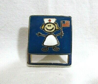 "Nurse Hat Lapel Pin Butterfly Back 1.25"" X 1.0"" Rectangle"