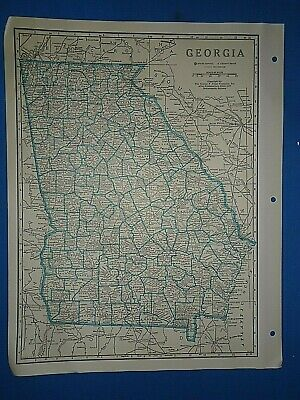 Old Vintage Circa 1942 GEORGIA MAP + County, Trunk Highways, Index & Fact Page