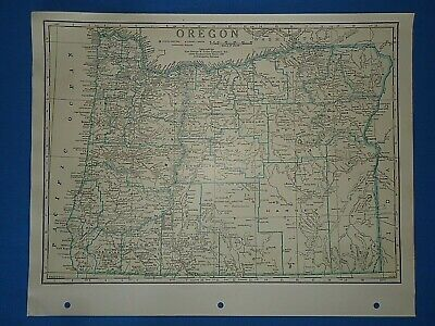 Old Vintage Circa 1942 OREGON MAP + County, Trunk Highways, Index & Fact Page