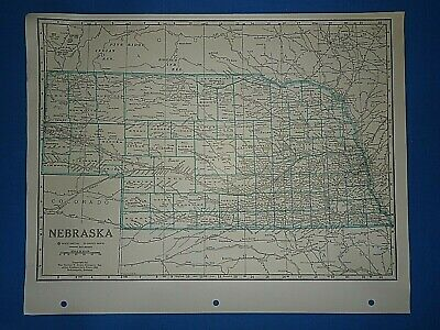 Old Vintage Circa 1942 NEBRASKA MAP + County, Trunk Highways, Index & Fact Page