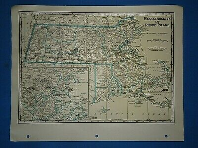 Old Vintage Circa 1942 MASSACHUSETTS MAP + County, Trunk Highways & Fact Page