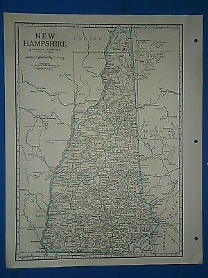 Old Vintage Circa 1942 NEW HAMPSHIRE MAP + County, Trunk Highways & Fact Page
