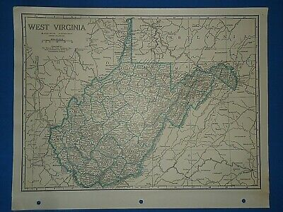 Old Vintage Circa 1942 WEST VIRGINIA MAP + County, Trunk Highways & Fact Page