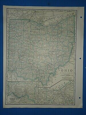 Old Vintage Circa 1942 OHIO MAP + County, Trunk Highways, Index & Fact Page