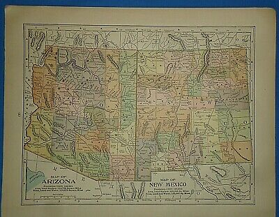 Vintage Circa 1903 ARIZONA & NEW MEXICO TERRITORY MAP Old Antique Original Map