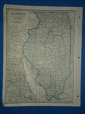 Old Vintage Circa 1942 ILLINOIS MAP + County, Trunk Highways, Index & Fact Page