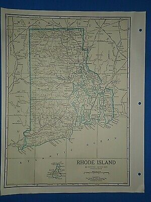 Old Vintage Circa 1942 RHODE ISLAND MAP + County, Trunk Highways & Fact Page