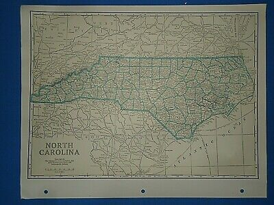 Old Vintage Circa 1942 NEW CAROLINA MAP + County, Trunk Highways & Fact Page