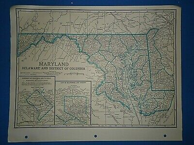 Old Vintage Circa 1942 MARYLAND MAP + County, Trunk Highways, Index & Fact Page