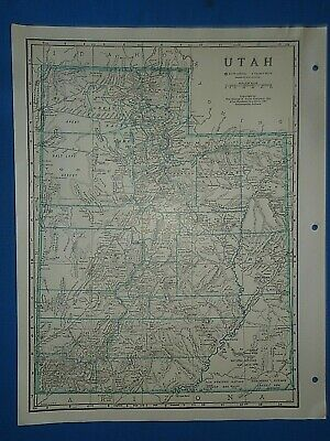 Old Vintage Circa 1942 UTAH MAP + County, Trunk Highways, Index & Fact Page