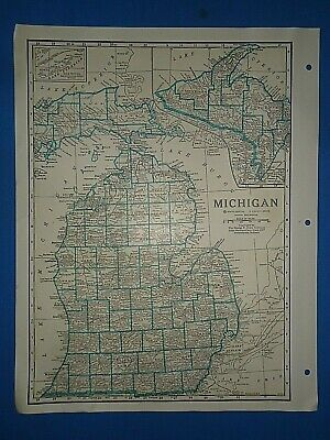 Old Vintage Circa 1942 MICHIGAN MAP + County, Trunk Highways, Index  & Fact Page