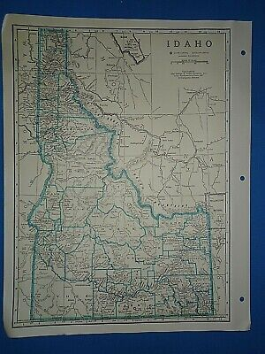 Old Vintage Circa 1942 IDAHO MAP + County, Trunk Highways, Index & Fact Page