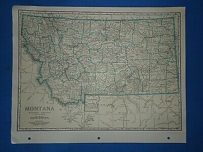 Old Vintage Circa 1942 MONTANA MAP + County, Trunk Highways, Index & Fact Page