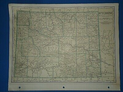 Old Vintage Circa 1942 WYOMING MAP + County, Trunk Highways & Fact Page